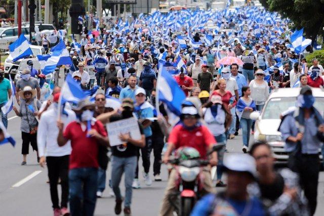 Manifestación contra el Gobierno de Daniel Ortega en Managua