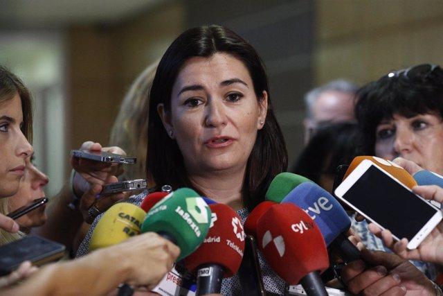 La ministra de Sanidad, Consumo y Bienestar Social, Carmen Montón, atiende a los