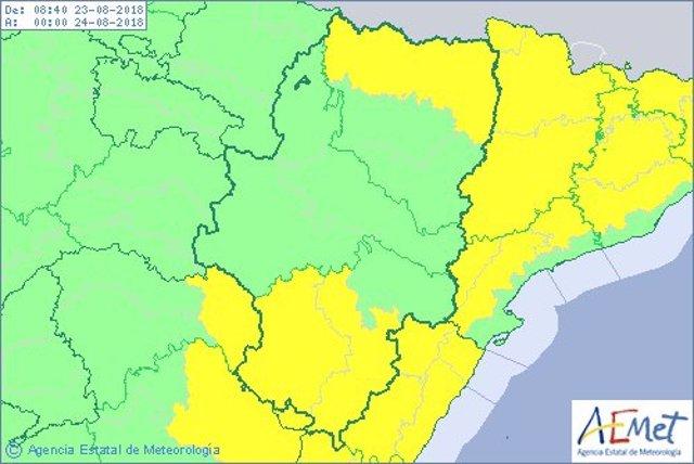 Las lluvias y tormentas afectarán a parte de la provincia de Teruel.