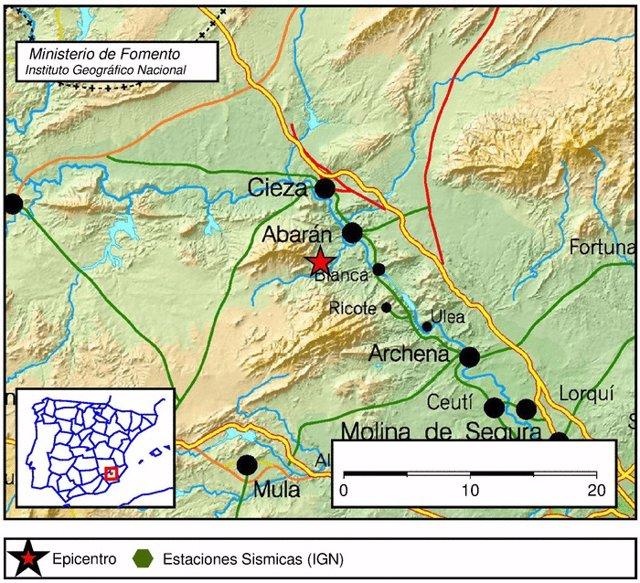 Imagen del lugar del epicentro del terremoto