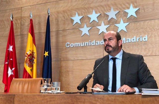 Pedro Rollán en rueda de prensa tras el Consejo de Gobierno