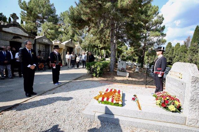 El presidente de la Generalitat, Quim Torra,en la ofrenda floral