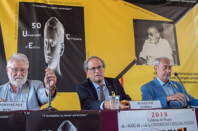 Joandemènec Ros (UCE) presidente Quim Torra, Jordi Casassas (UCE)
