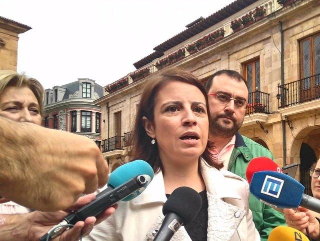 La vicesecretaria general del PSOE, Adriana Lastra, en Oviedo