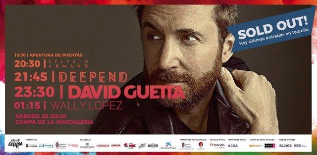 Cartel que anunciaba el concierto de Guetta con entradas agotadas