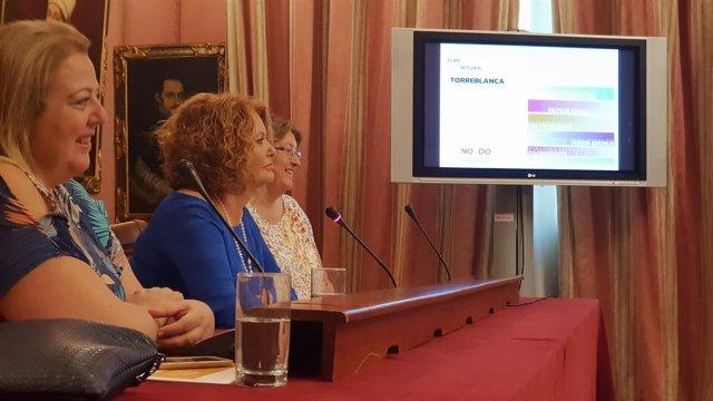 Adela Castaño, durante la rueda de prensa