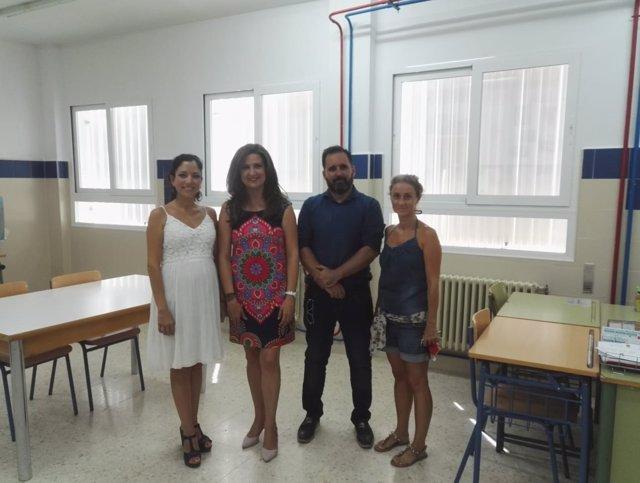 Visita a las obras de climatización en el instituto de Baños de la Encina.