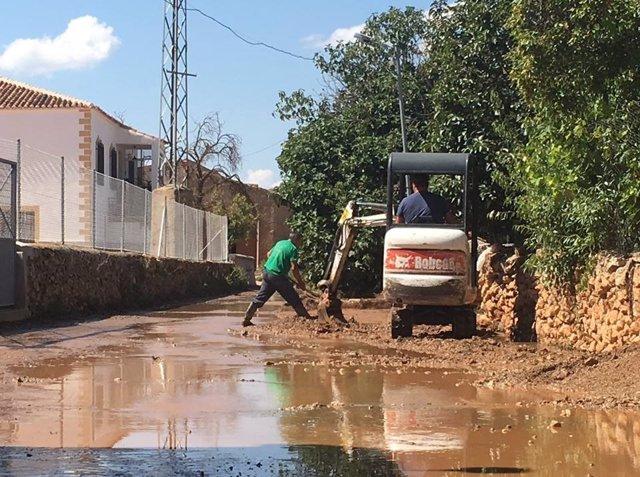 Imagen de los daños por lluvias en Cúllar (Granada)