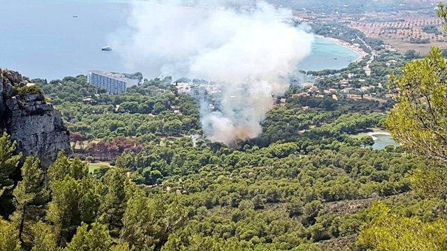 Incendio forestal en Costa del Pins