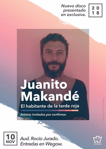 Juanito Makandé presentará su nuevo trabajo 'El habitante de la tarde roja' en Sevilla el 10 de noviembre