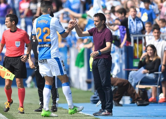 Asier Garitano, en su último partido como entrenador del CD Leganés.
