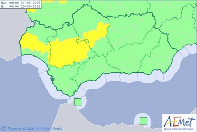 La Aemet activa este viernes el aviso amarillo