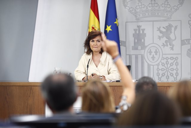 La vicepresidenta, Carmen Calvo, en la rueda de prensa posterior al Consejo de M
