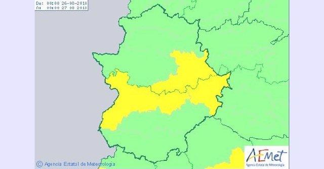 Avisos por altas temperaturas en Extremadura para el domingo