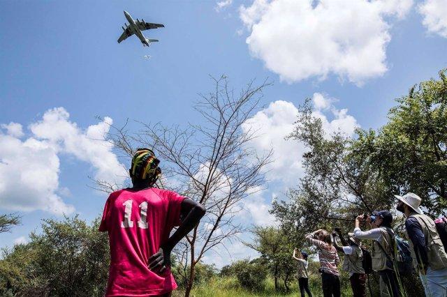 Entrega de ayuda humanitaria del PMA en Sudán del Sur