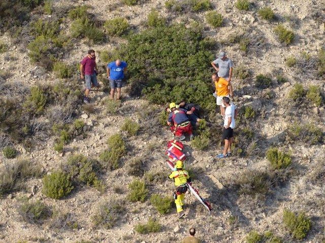 Vista aérea del rescate en Agost