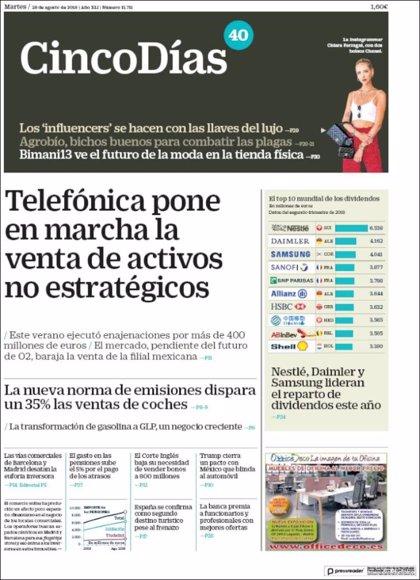 Las portadas de los periódicos económicos de hoy, martes 28 de agosto