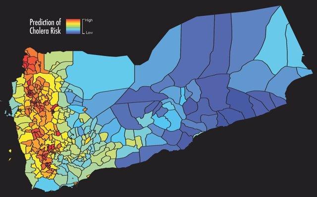 Mapa del riesgo de cólera previsto en base a los datos satelitales en Yemen