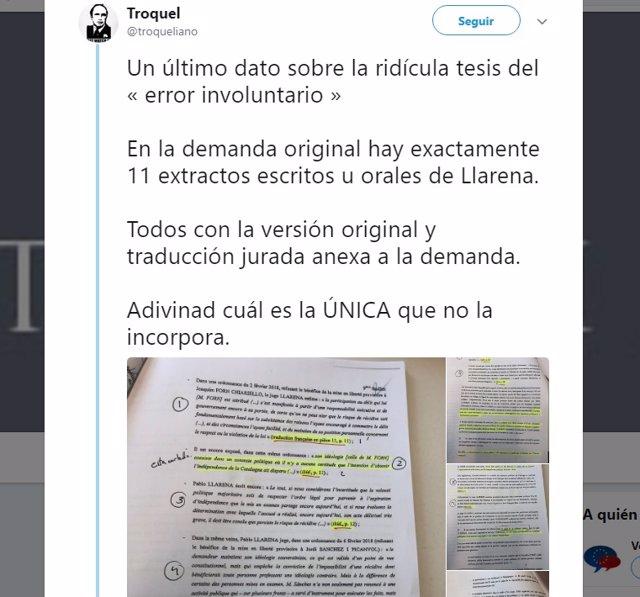 Tuitero denuncia manipulación en la demanda contra Llarena