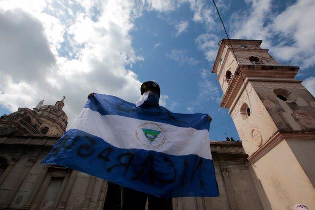 Manifestante contra el Gobierno de Daniel Ortega en Nicaragua