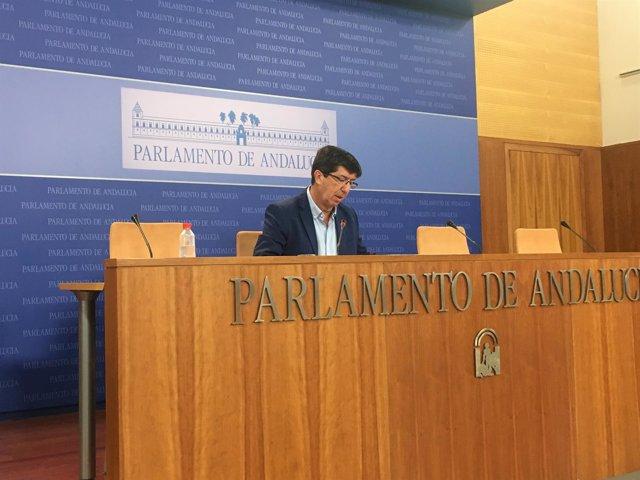 El líder andaluz de Cs, Juan Marín, en rueda de prensa