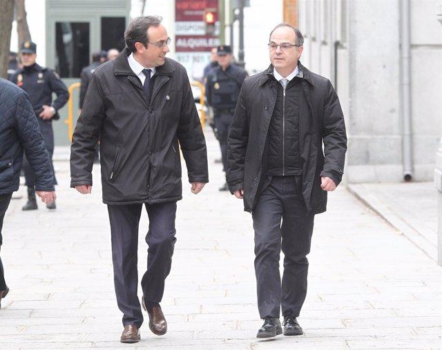Josep Rull y Jordi Turull llegando al Supremo en una imagen de archivo.