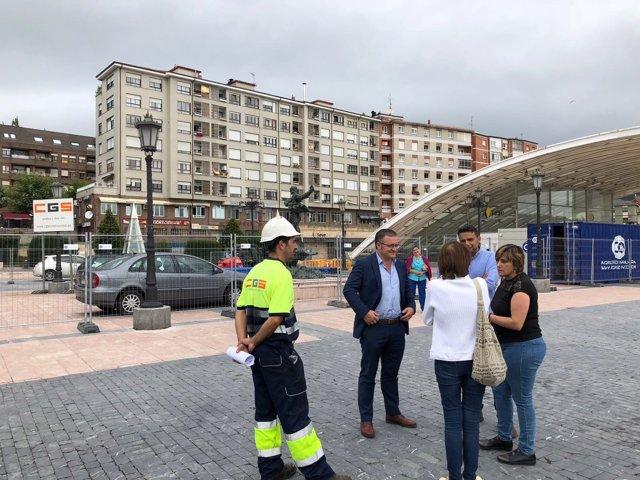 Plaza de los Ferroviarios en obras
