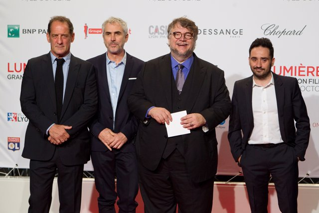 Actor Vincent Lindon (L) and directors Alfonso Cuaron, Guillermo del Toro and Ju