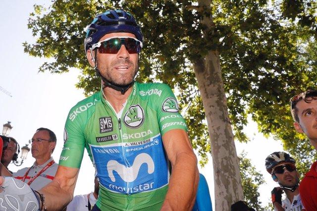 Alejandro Valverde antes de la salida de la quinta etapa de La Vuelta