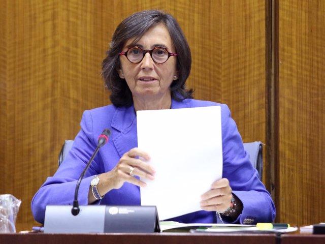 La consejera de Interior, Rosa Aguilar, en una comisión extraordinaria