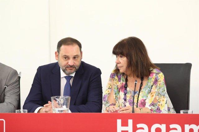 Ábalos y Narbona asisten a la reunión de la Comisión Ejecutiva Federal del PSOE