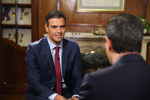 Pedro Sánchez, en una entrevista en Caracol TV, de Colombia