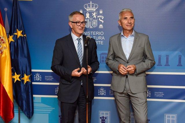 El ministro José Guirao y el consejero Miguel Ángel Vázquez