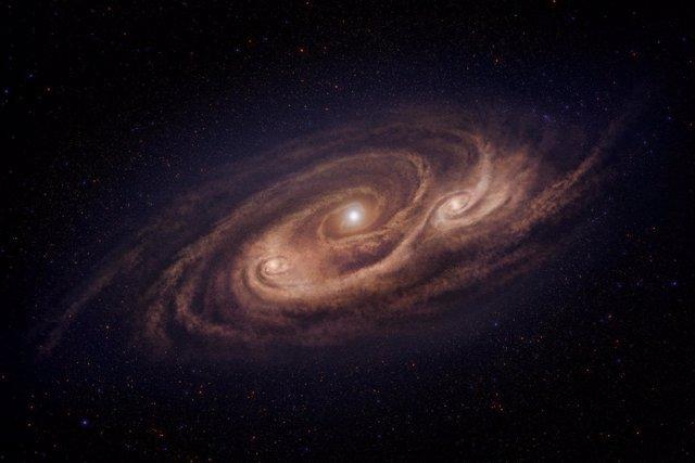 """Impresión artística de la """"galaxia monstruosa"""" COSMOS-AzTEC-1"""
