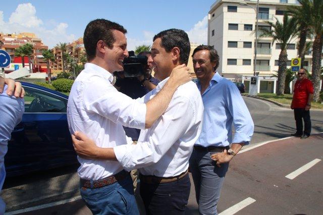 Casado y Moreno se funden en un abrazo en presencia de Rafa Hernando