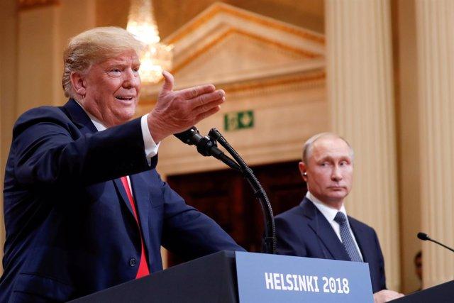 Donald Trump en la rueda de prensa con Putin en Helsinki