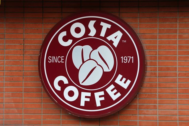 A Costa coffee shop logo is pictured at Hamra street in Beirut, Lebanon January