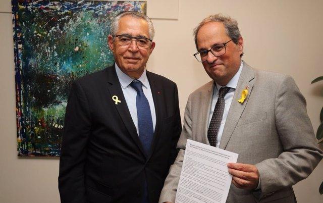 El alcalde de Perpiñán, Jean-Marc Pujol, y el presidente Quim Torra