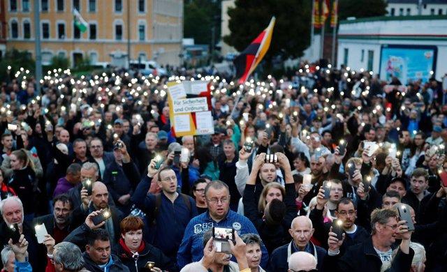 Manifestación de la ultraderecha alemana en Chemnitz