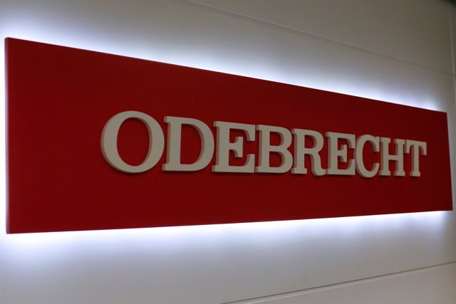 The corporate logo of Odebrecht is seen inside of one of its offices in Mexico C