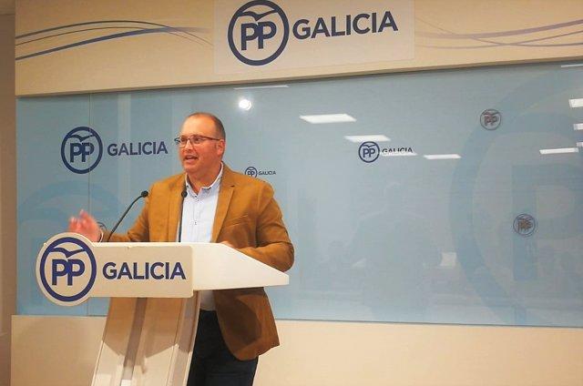 Rueda de prensa del secretario xeral del PPdeG, Miguel Tellado.