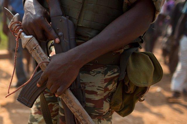 Soldado de la Unión Africana en Bangui