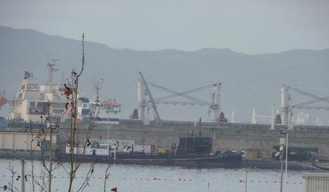 El submarino nuclear 'Newport News' en Gibraltar