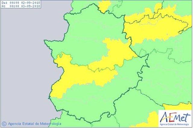 Avisos por calor para el domingo en Extremadura