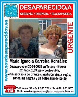 Imagen de la mujer desaparecida