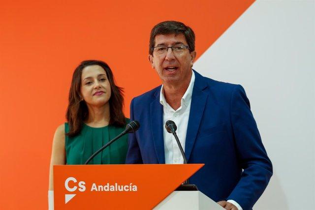 Juan Marín, en rueda de prensa junto a Inés Arrimadas en Sevilla