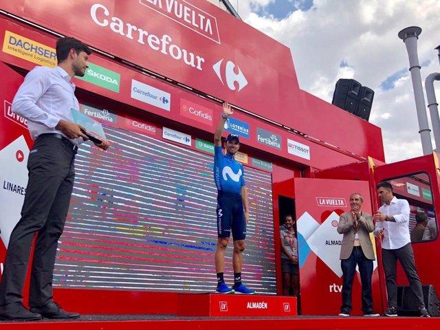 Alejandro Valverde (Movistar Team), tras ganar la etapa 8 de La Vuelta