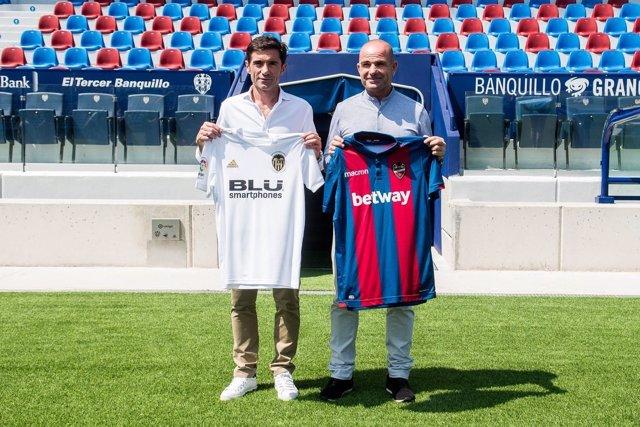 Paco López y Marcelino García Toral, en la jornada previa al derbi