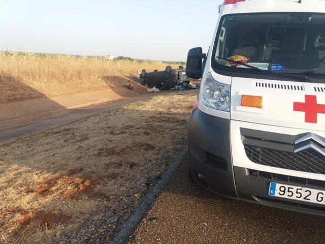 Accidente en la A-66 a la altura de Almendralejo