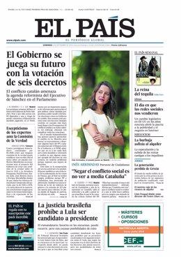 Primera página de EL PAÍS del 2 de septiembre